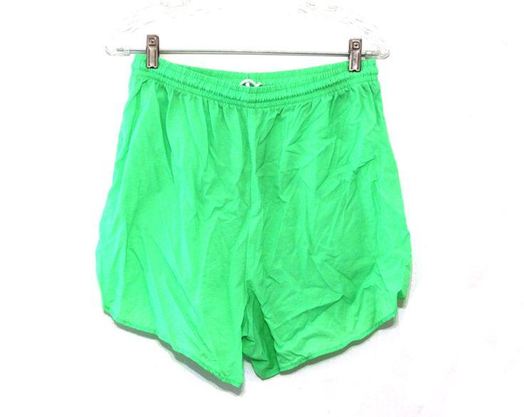 Vintage 80s shorts neon green nylon by 216vintageModern on Etsy