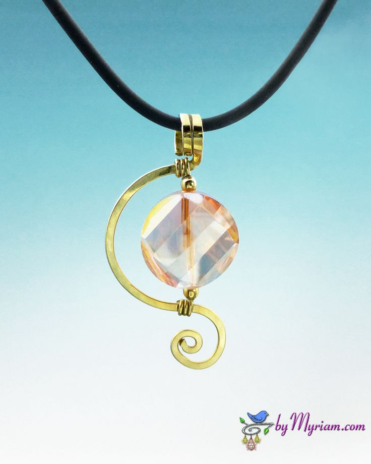Peach Crystal Spiral Wire Pendant ... sculpted 14 kt. GF wire & iridescent crystal, from byMyriam.com ... wire jewelry