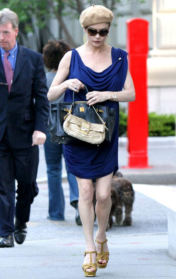 The beautiful actress Catherine Zeta Jones with a FENDI BAGUETTE in New York City.