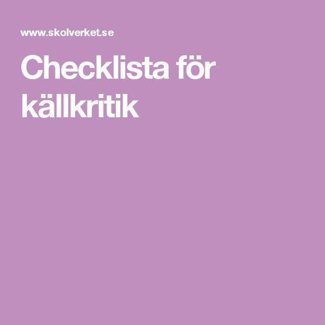 Checklista för källkritik