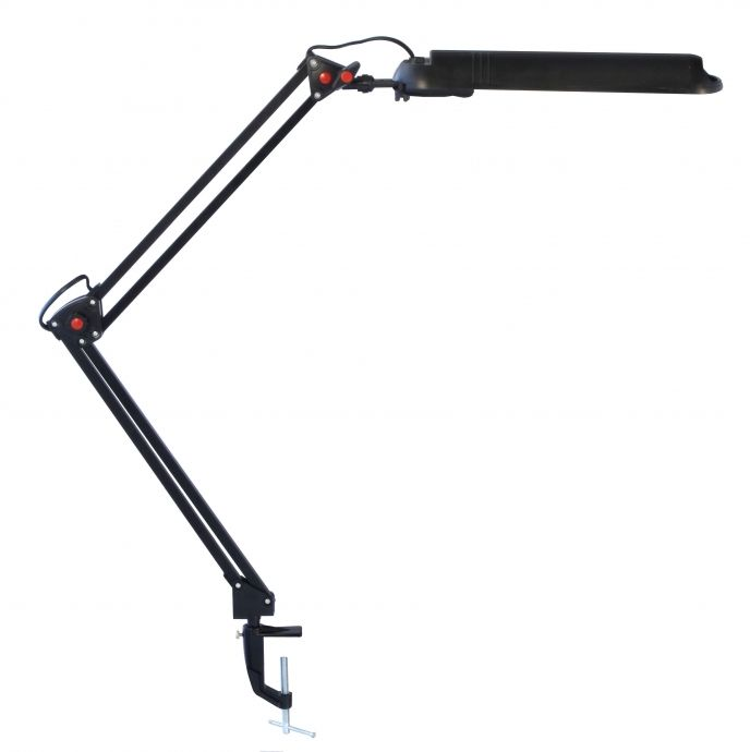 lampa de birou PLANNER2 4426 neagra, cu prindere laterala, picior ajustabil si abajur orientabil marca RabaLux