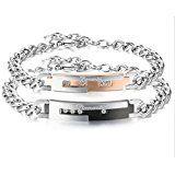 #10: JewelryWe バレンタインデー 愛の証に:ファッション ロマンチック カップル メンズ レディース 1ペア(2個)チェーンブレスレット,婚約 結婚,ジルコニア ダイヤ,ステンレス,クリスマスプレゼント