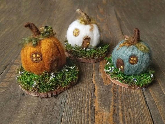 Hey, I found this really awesome Etsy listing at https://www.etsy.com/listing/550767191/pumpkin-house-needle-felt-pumpkins-fall
