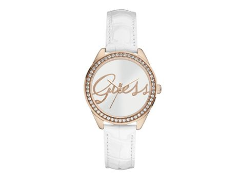 "#Guess ""Whisper"" ladies' rose gold dress watch set with #crystals and genuine leather strap.                           