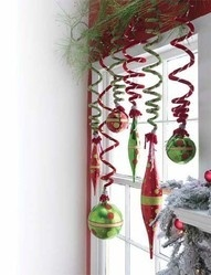 Window decor:  use pipe cleaners to hang ornaments and a tension rod to hang from.
