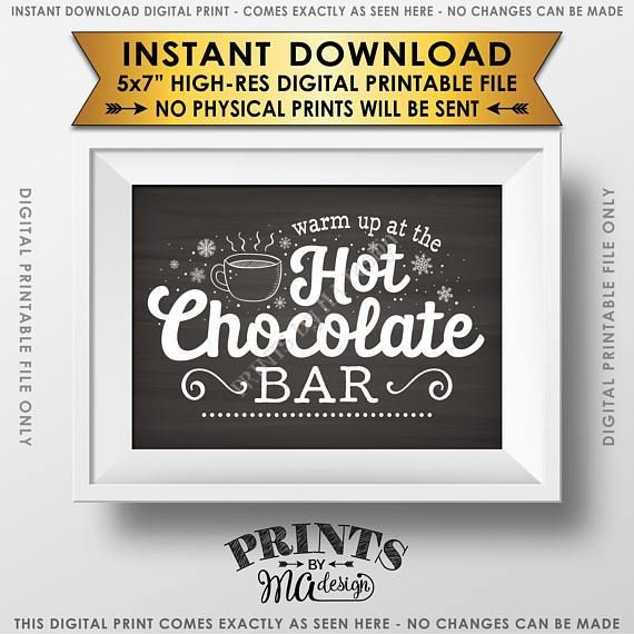 "Hot Chocolate Sign, Warm Up at the Hot Chocolate Bar Sign, Chalkboard Style PRINTABLE 5x7"" sign"