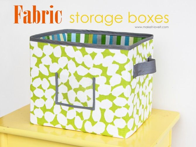 Love this - make your own canvas fabric bins. Can finally match them to the other items in the room.