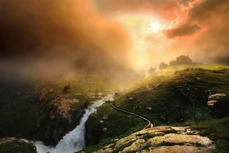 General 1800x1201 nature landscape mountain clouds mist sunrise river house Italy