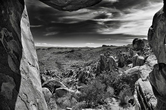 Using the Balance Rock to Frame a View of Big Bend National Park, Texas (Black & White) -- Photo by Mark Stevens, taken 10-28-16 -- Sierra Club, Daily Ray of Hope, 1-2-18 #RayofHope