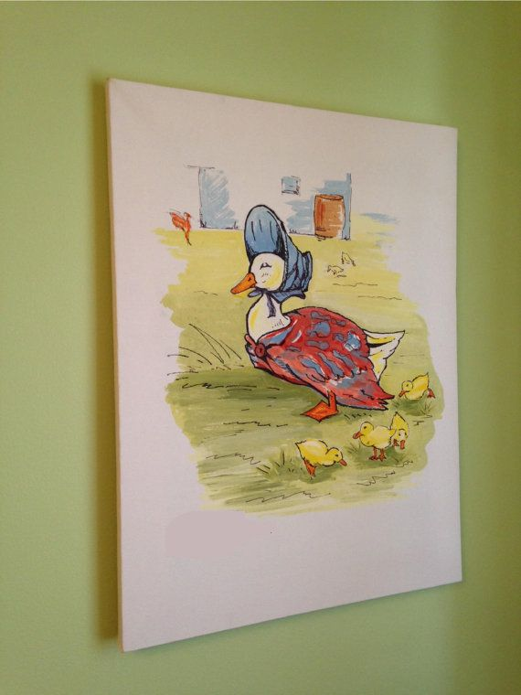 Digital Print of Hand Painted Beatrix Potter / Jemima Puddle Duck - 16 x 12 stretched canvas on Etsy, $40.00 CAD