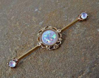 Tree of Life Glitter Opal industriële Barbell door Yourjewelryhut