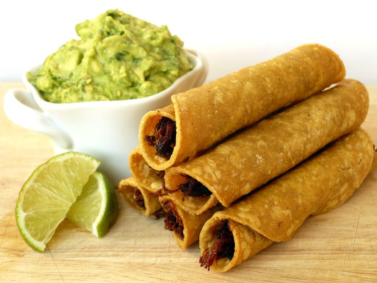 """Fried Homemade Taquitos - """"These are the real deal.  No microwaves, no ovens and no mystery meat here;  just the ear shattering crunch and savory interior of a freshly fried, homemade beef taquito.""""  A less complicated recipe that can be spiced up as desired. Good tips on preparing corn tortillas so that they don't open while being fried."""