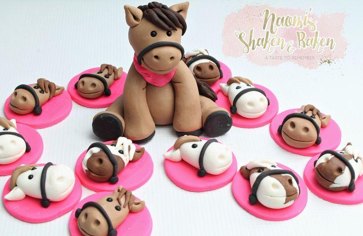 Horse & cupcake topper set #edibletopper #topper #caketopper #cakedecoration #cupcakes #cupcaketopper #edible #fondant #satinice #gumpaste #naomisshakenandbaken #horse #farm #animals #pink