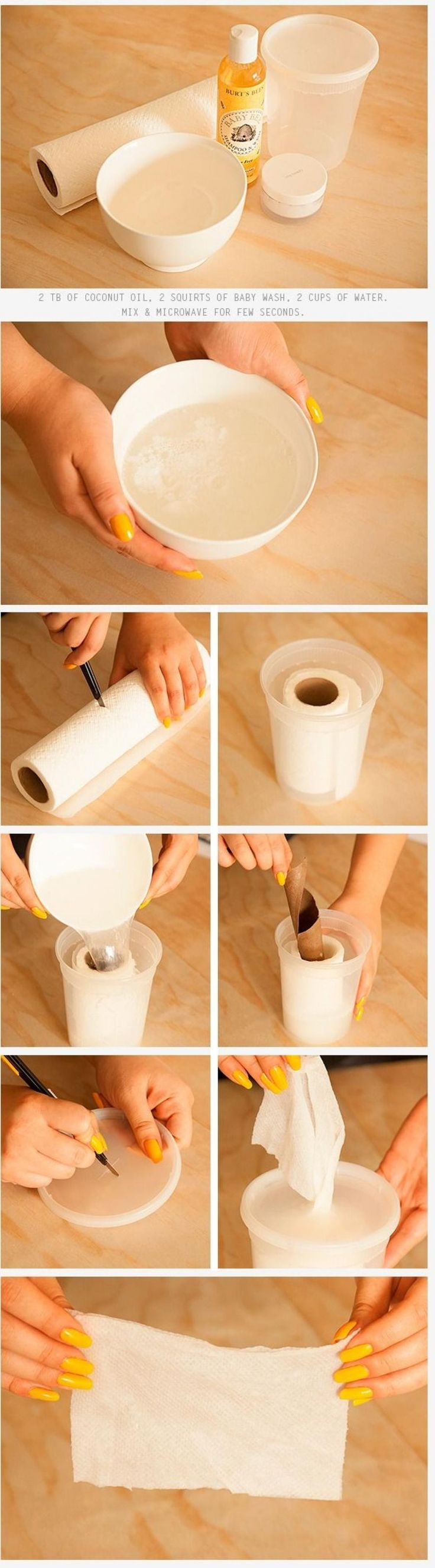 Here is just an tip to make a roll baby wipes. Ingredients: 2 TB Baby wash squirts 2 TB Coconut oil 2 Cups of water