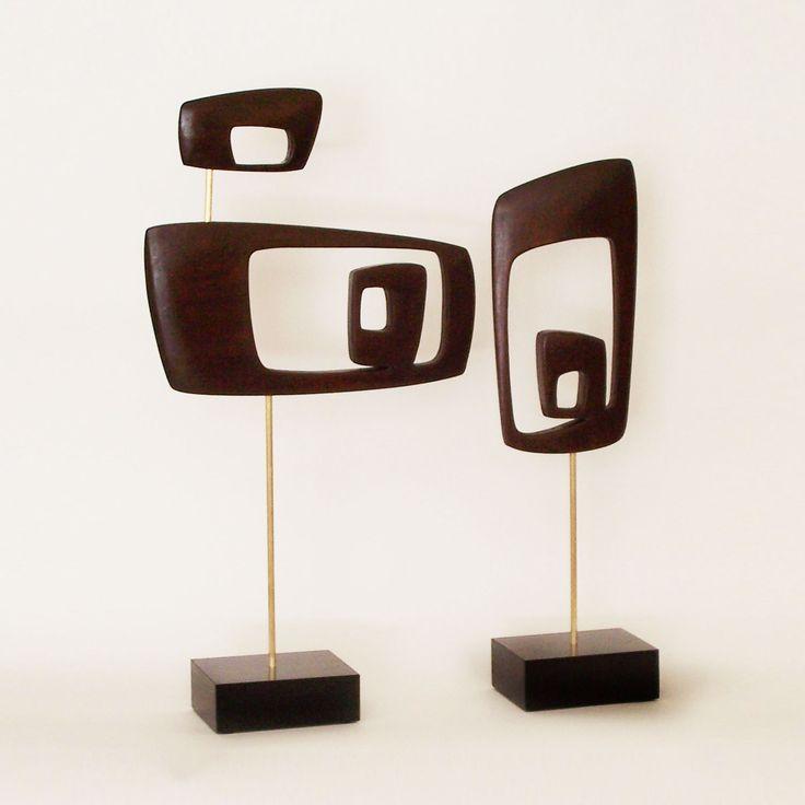 Mid-Century Hardwood Sculptures - Set of 2   dotandbo.com