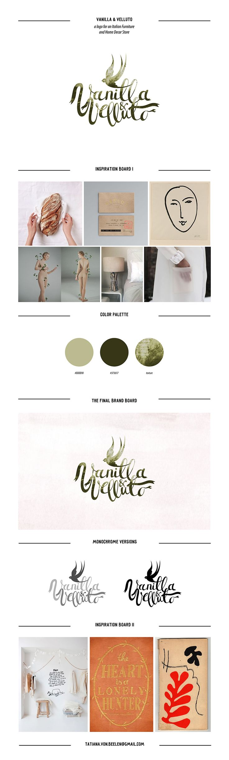 #logotype #logo #inspiration #design #board #graphic #branding #calligraphy #letteringring #romantic #whimsical #wedding #homedecor #furniture #store  Vanilla & Velluto logo on Behance logo