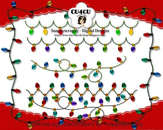 christmas lights clipart digital scrapbooking christmas httpswwwetsycom - Digital Christmas Lights