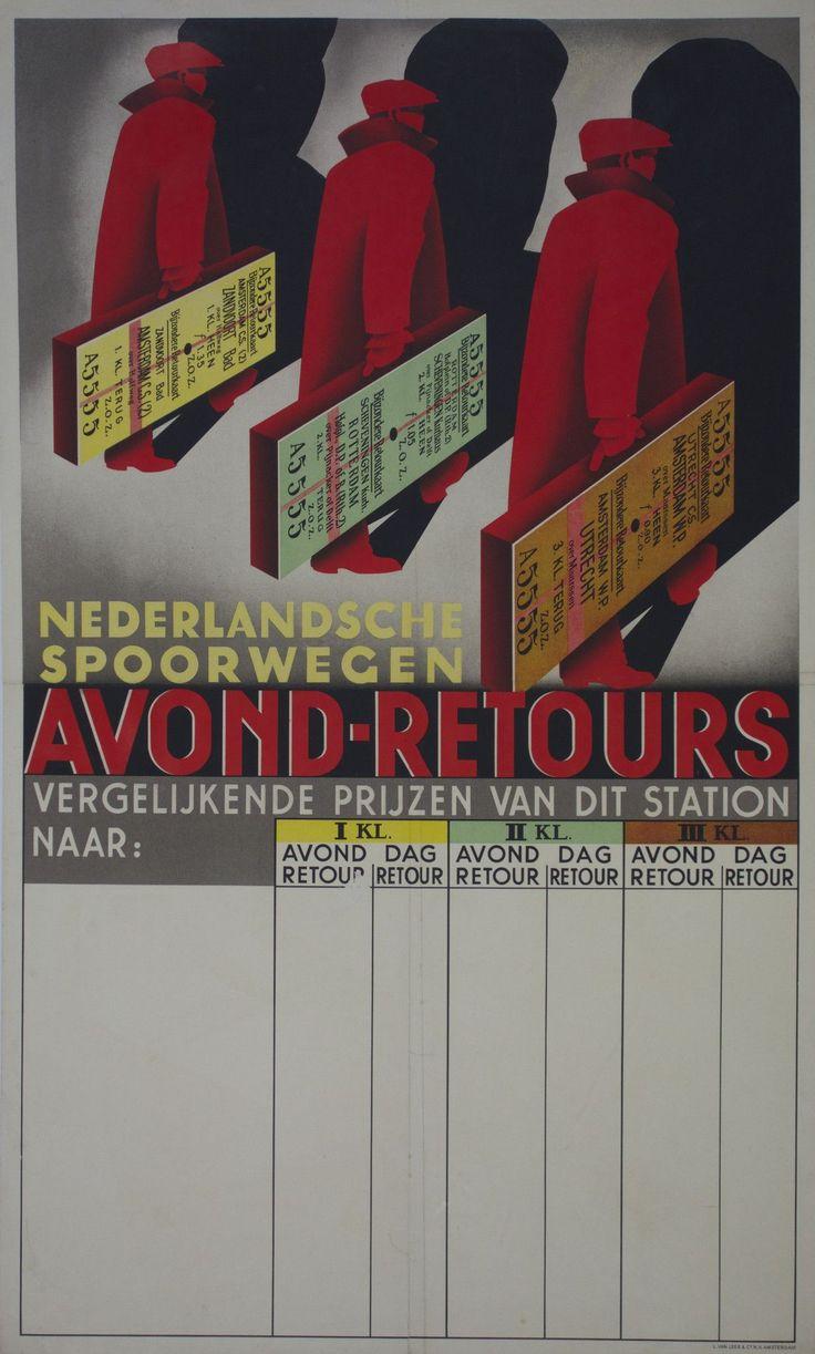 """Nederlandsche Spoorwegen / Origin: Netherlands c. 1935 /  24 x 39 in (61 x 99 cm) / """"Dutch Railways"""""""