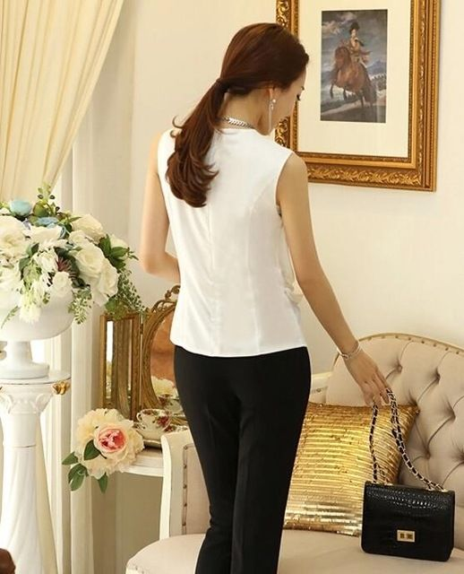 Sin mangas Femenina Blusa de Gasa Camisas Femininas Plisado Mujeres Blusas Camisa Femenina Delgada Elegante Blanco Tops Blusa de La Gasa
