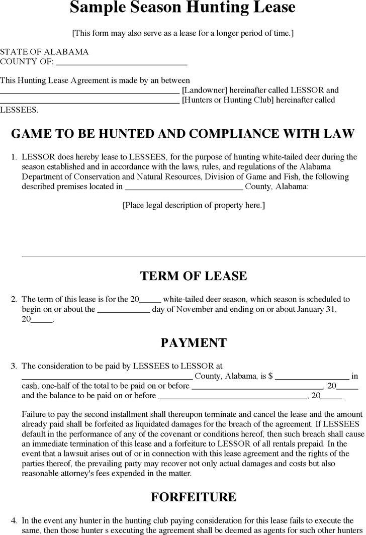 Alabama Season Hunting Lease Form Download Free Printable