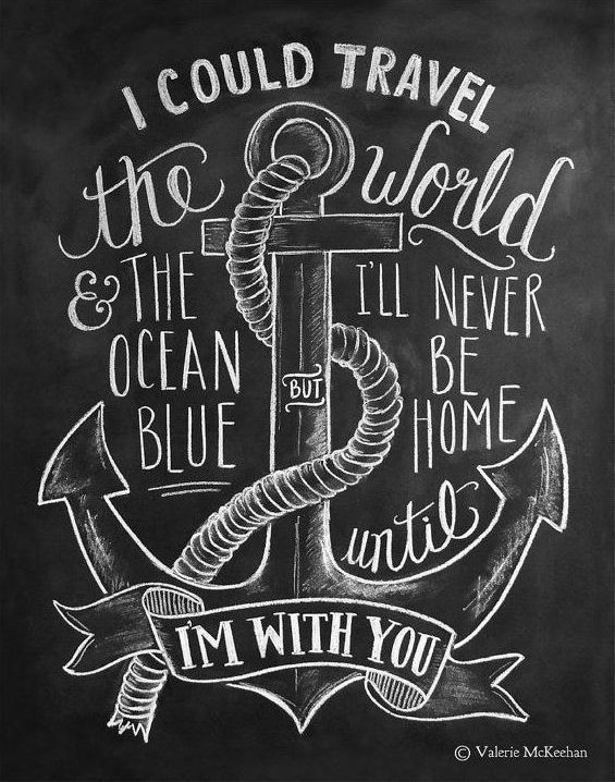 Nautical Print - Travel Print - Chalkboard Art - Anchor Illustration - Nautical…
