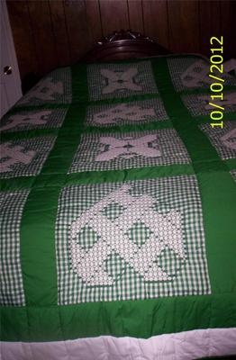 Green and white gingham quilt - chicken scratched