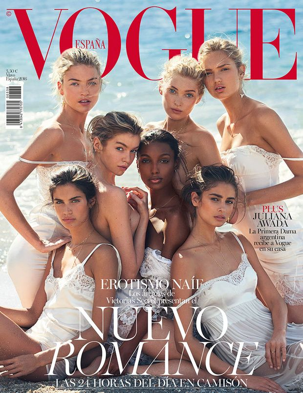 Martha Hunt, Stella Maxwell, Jasmine Tookes, Elsa Hosk, Romee Strijd, Sara Sampaio and Taylor Hill by David Bellemere for Vogue Spain May 2016 cover