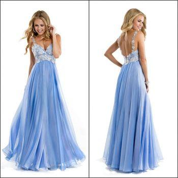 Красочные шифон ремни кружево выпускного вечера платья длиной до пола , синий из бисера вечерние платья 2014 новое поступление
