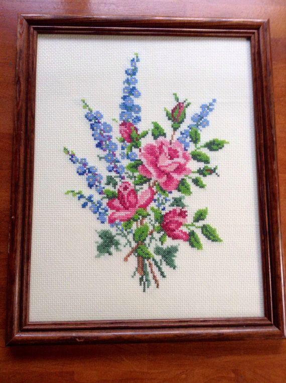 Rose Floral Needlepoint in Dark Wooden Frame Cottage Shabby