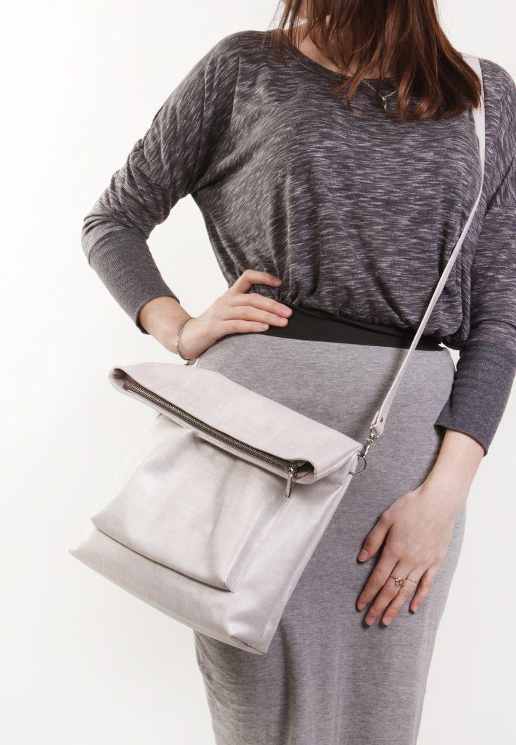 """Beige Leather Bag """"Ursula Perola"""", Beige Cross Body Bag , Leather Cross Body, Leather Crossbody Purse, Leather Shoulder Bag"""