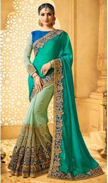 Turquoise Color Chiffon Satin Embroidery Designer Saree | FH583986204 Follow us @heenastyle #saree #sari #sarees #sareelove #sareeindia #indiansaree #designersaree #sareeday #silksaree #lehengasaree #designersarees #sareesilk #weddingsaree #sareeblouse #sareefashion #ethnicwear #georgette #partywear #latestfashion #latestdesign #newfashionsaree #newdesigsaree #goldenbordersaree #instafashion #designersaris #heenastylesaree #heenastyle