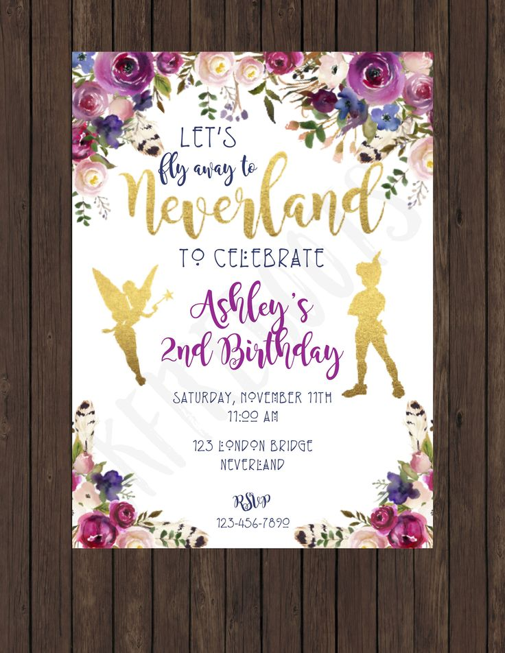 Boho Watercolor Neverland Invite by ckfireboots on Etsy