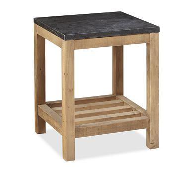 Connor Natural Finish Pine U0026 Limestone Side Table