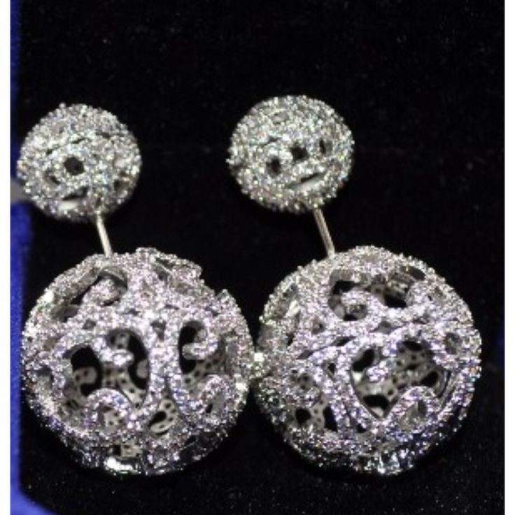 Diamond Lace Pave Ball Studs Double Ball Studs Silver Vintage Filigree Side Earring Stud #vintage