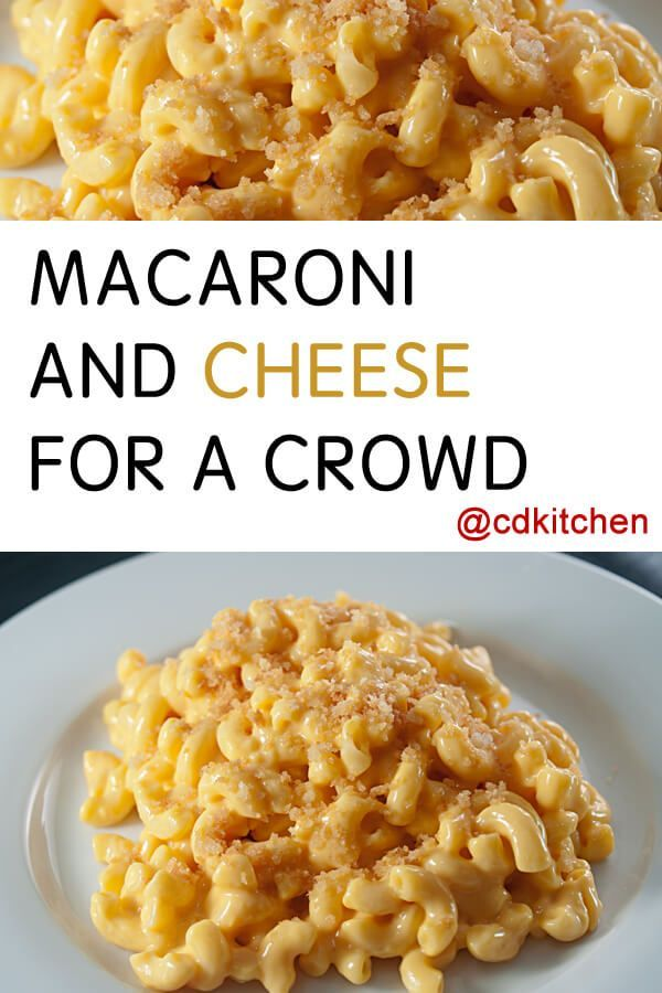 If you need to serve a big group this recipe is ideal! This is an easy and basic mac and cheese recipe that is sure to please everyone. Need to serve more than 50 people? No problem, just change the serving size using our handy tool.| CDKitchen.com