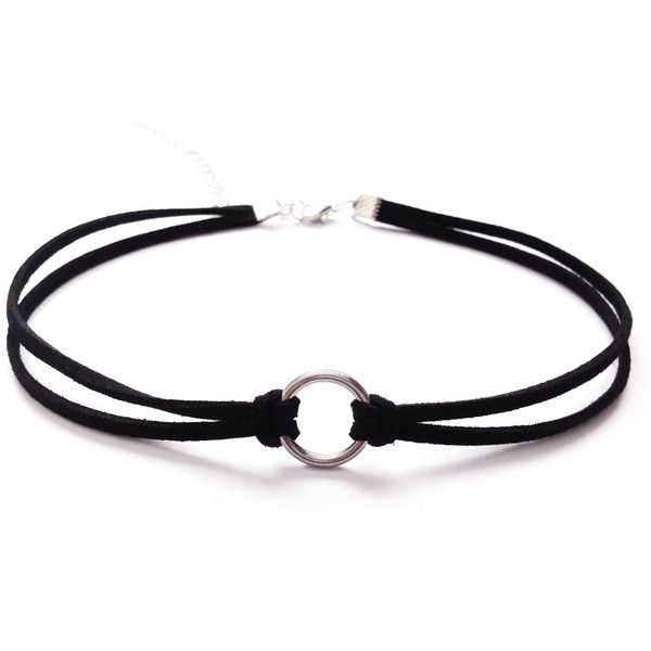 Black Double Strand Circle O-RING VELVET Choker Collar Necklace Gothic... (£4.53) ❤ liked on Polyvore featuring jewelry, necklaces, punk necklace, gothic choker, goth choker necklace, gothic choker necklace and velvet choker necklace
