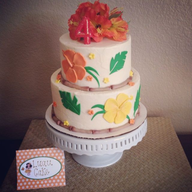 Stunning Hawaiian Luau Birthday Party cake!  See more party ideas at CatchMyParty.com!