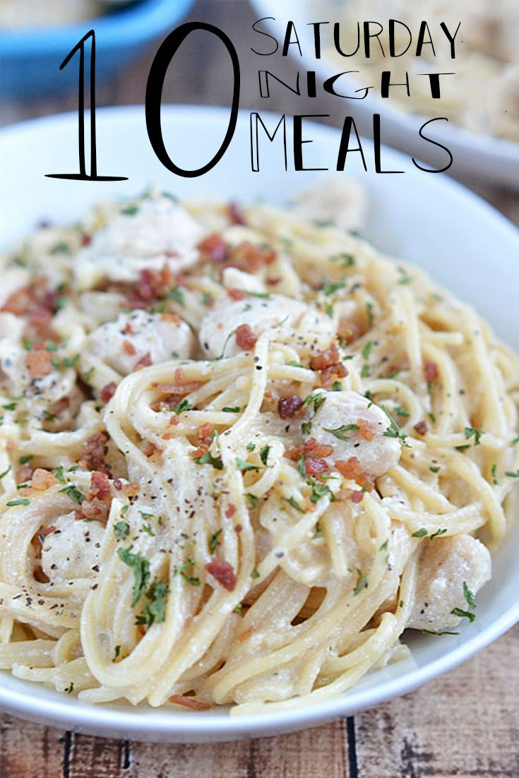 """10 SATURDAY NIGHT MEALS:  Friday is takeaways, Sunday is the family roast … Saturday is always this awkward """"I'm in the middle and I don't know what to do"""" dinner. So I have put together some easy Saturday night meals for you guys to try. A lot of these I found on Pinterest …"""