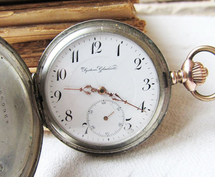 Antique Silver Pocket Watch Sistem Glashutte Working Old German Watch GUB Silver Pocket Watch Rare Men's Watch Mechanical Haute Precision by TedDiscovery on Etsy