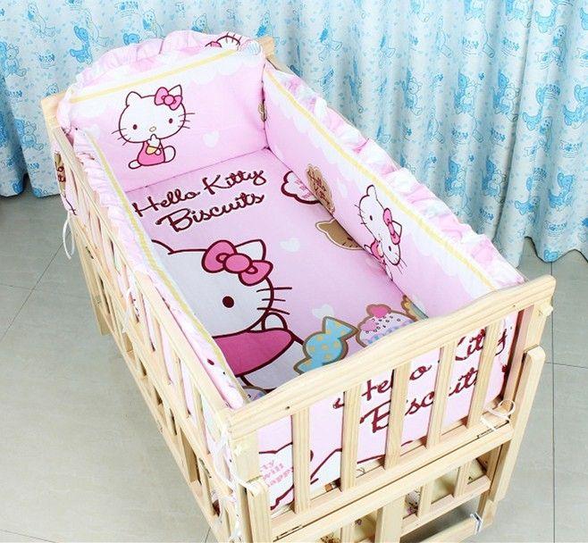 Promotion! 10PCS Hello Kitty crib bedding set quilt kit mattress pillow baby bedding (bumper+pillow+matress+duvet)