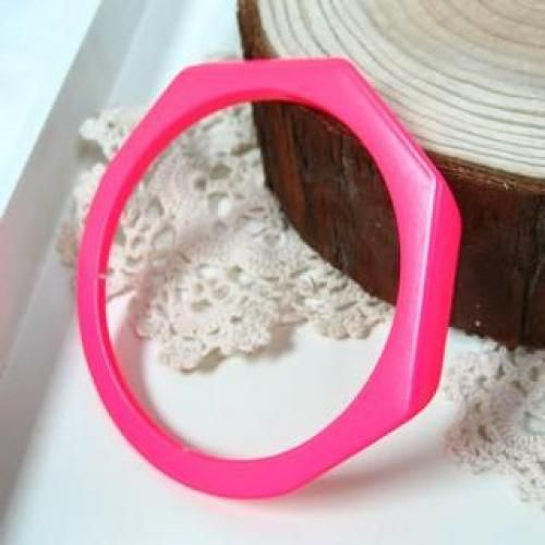 Fluorescence Metal Bangle Fluorescent Pink - One Size