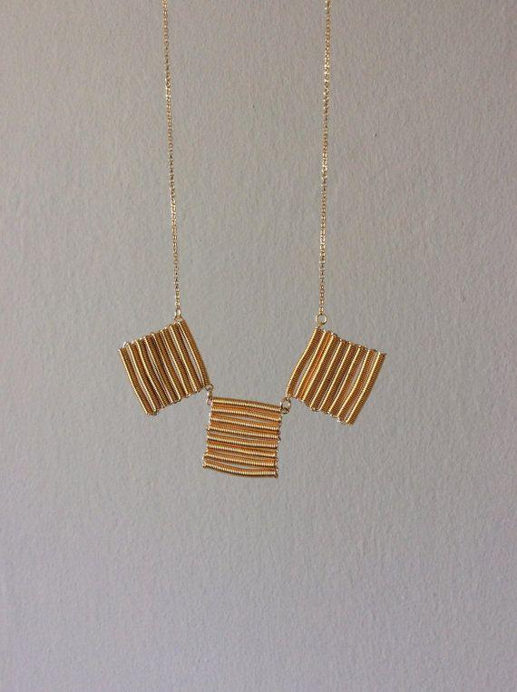 Fringe triple gold necklace 24K gold leaf 925 by EliaLaNoire