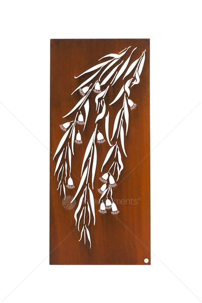 Entanglements laser cut metal art, Snowgum design.