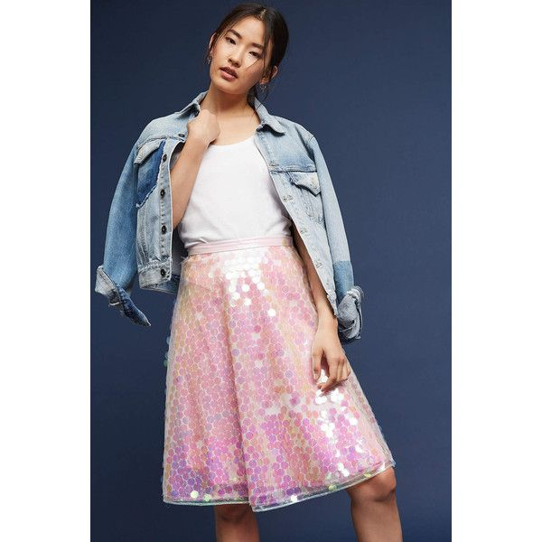 Eva Franco Sequined Tulle Skirt ($138) ❤ liked on Polyvore featuring skirts, pink, eva franco, tulle skirts, sequin skirts, knee length tulle skirt and blue skirt