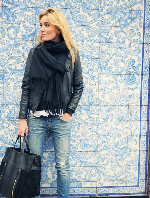 This Is The Way To Wear A Black Scarf With Leather Jacket - Camilla Pihl