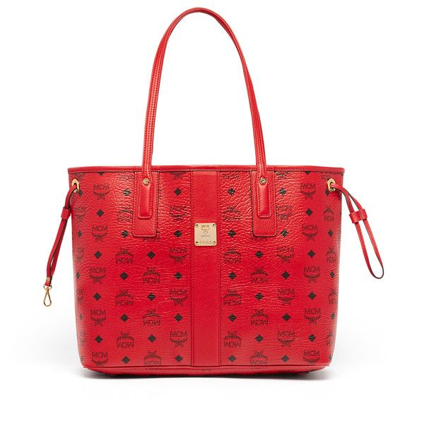 MCM Reversible Liz Shopper In Visetos ($590) ❤ liked on Polyvore featuring bags, handbags, tote bags, red purse, red tote bag, reversible tote, red handbags and shopper tote bag