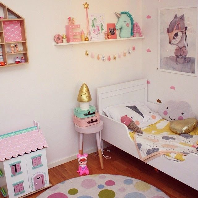 A cute and colourful #girls #bedroom - love the little touches of gold