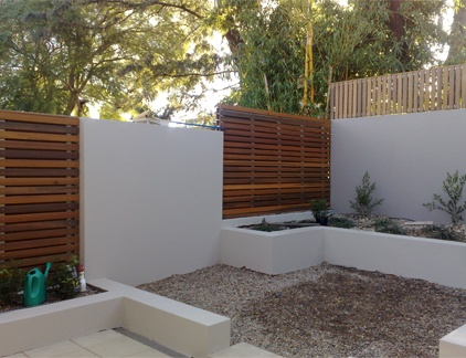 Ways to create privacy.. Render and timber screens.