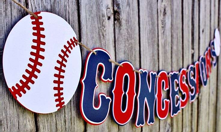 This Baseball Concessions banner is sure to be a hit at your little slugger's baseball party. - Colors: navy, red, white - Length: 4 1/2 feet - Height: 5 inches - Layout: (baseball) CONCESSIONS (baseb