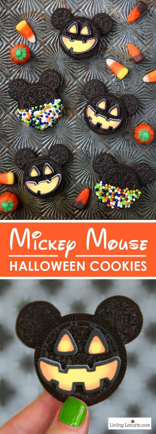 Mickey Mouse Halloween Cookies are adorable Halloween Treats! Easy no bake cookie made with Oreo cookies. Fun food jack-o-lantern Disney themed holiday party dessert recipe for kids. http://LivingLocurto.com